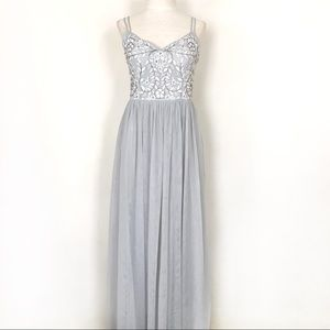 BHLDN Elowen Dress Fog Grey Tulle Embroidered 6